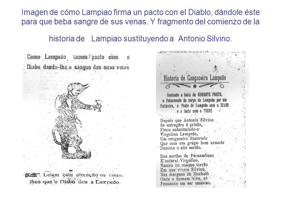Imagen de cómo Lampiao firma un pacto con el Diablo, dándole éste para que beba sangre de sus venas.