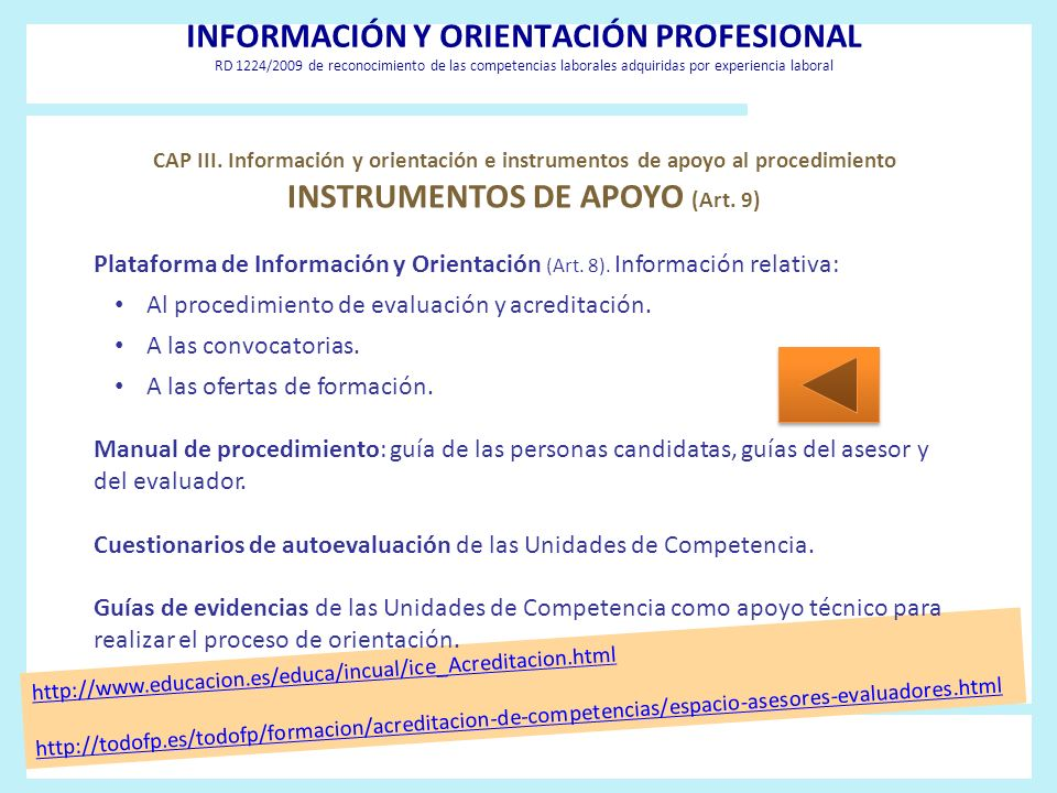 INSTRUMENTOS DE APOYO (Art. 9)