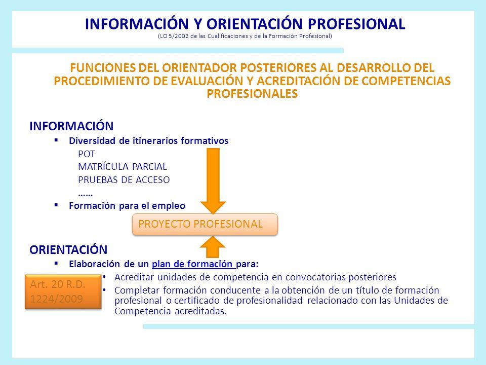 INFORMACIÓN Y ORIENTACIÓN PROFESIONAL (LO 5/2002 de las Cualificaciones y de la Formación Profesional)