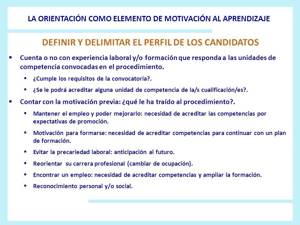 DEFINIR Y DELIMITAR EL PERFIL DE LOS CANDIDATOS
