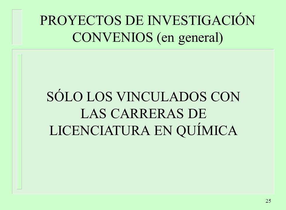 PROYECTOS DE INVESTIGACIÓN CONVENIOS (en general)