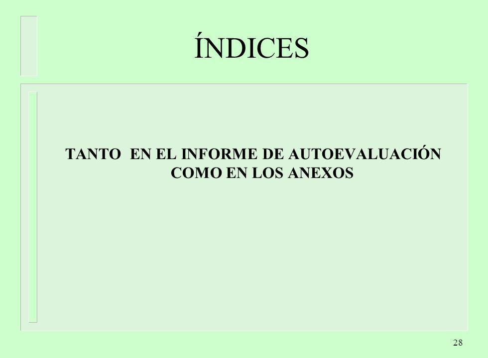 TANTO EN EL INFORME DE AUTOEVALUACIÓN COMO EN LOS ANEXOS