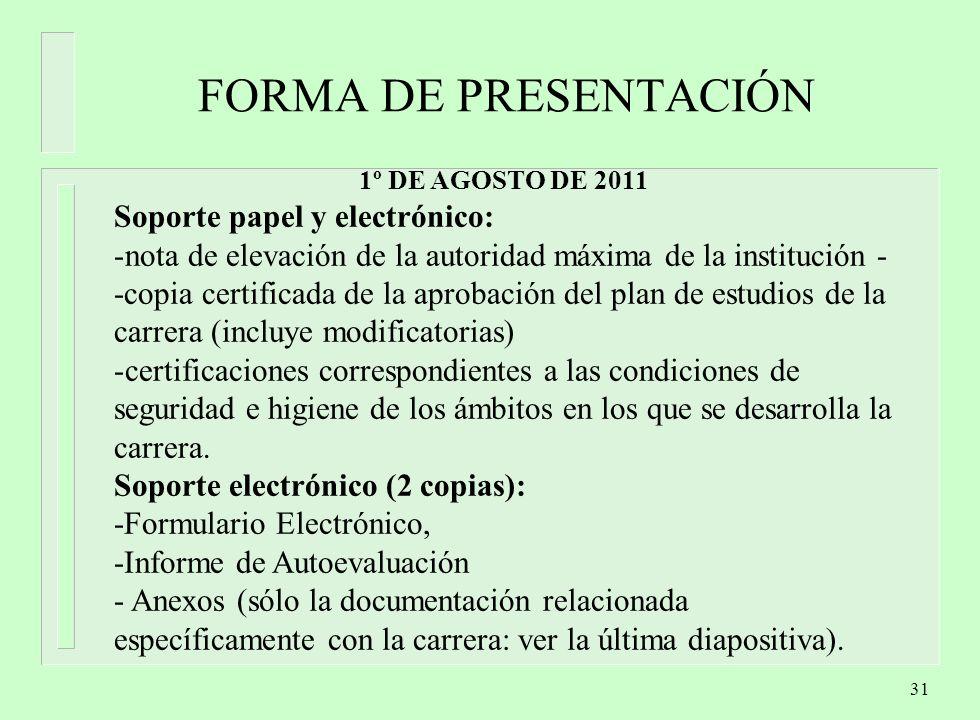 FORMA DE PRESENTACIÓN Soporte papel y electrónico: