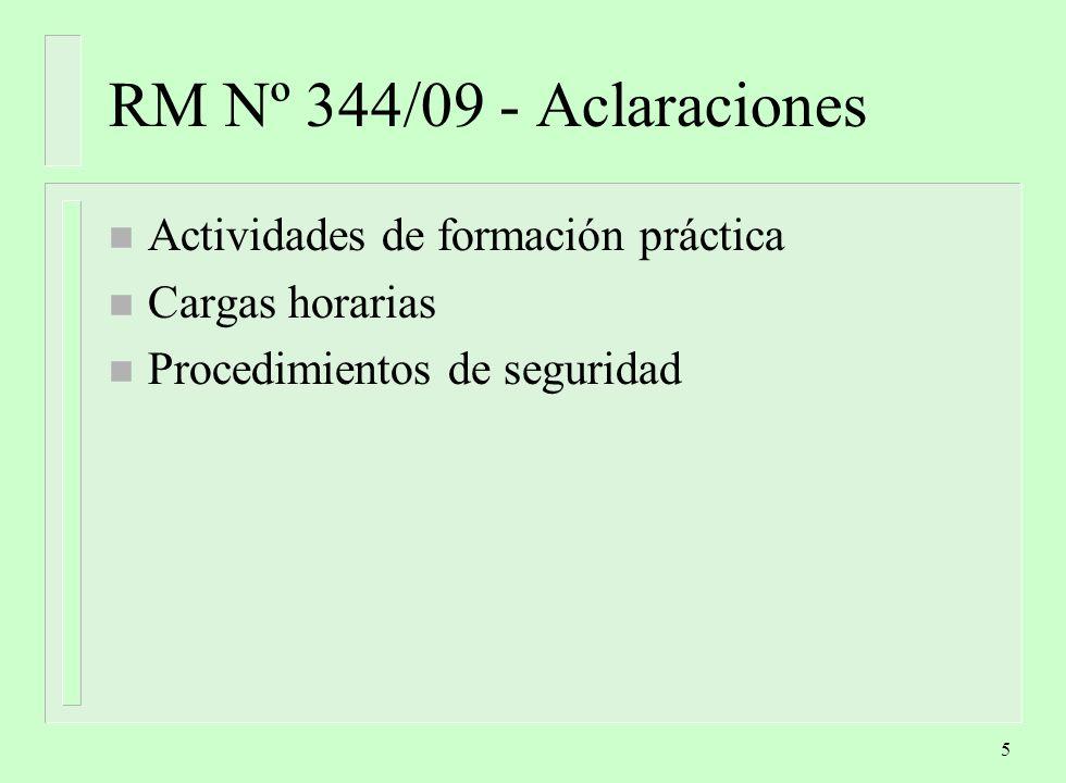 RM Nº 344/09 - Aclaraciones Actividades de formación práctica