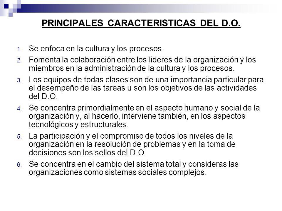 PRINCIPALES CARACTERISTICAS DEL D.O.
