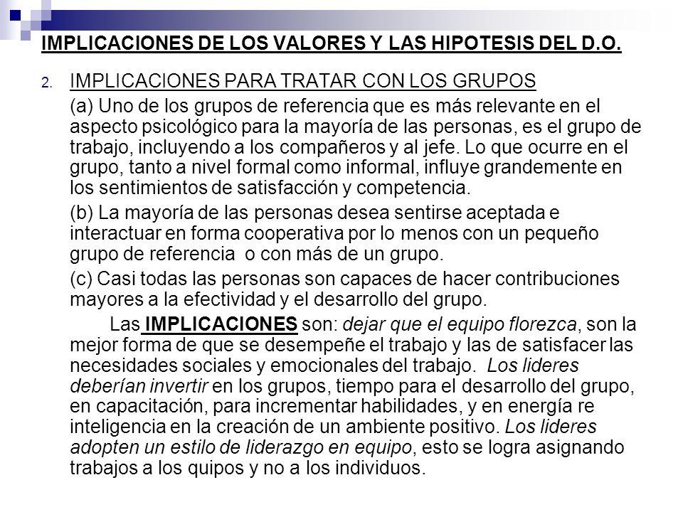 IMPLICACIONES DE LOS VALORES Y LAS HIPOTESIS DEL D.O.