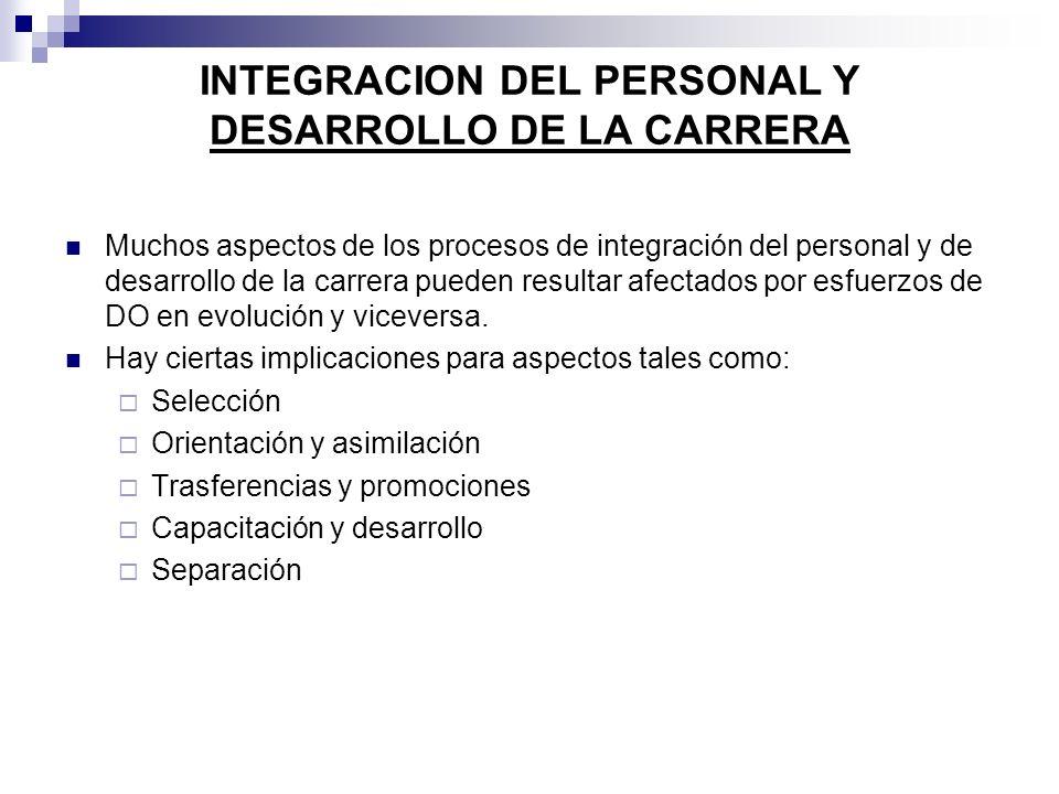 INTEGRACION DEL PERSONAL Y DESARROLLO DE LA CARRERA