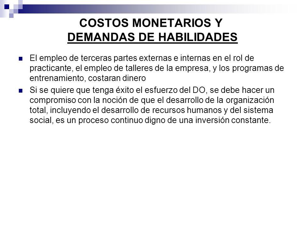COSTOS MONETARIOS Y DEMANDAS DE HABILIDADES