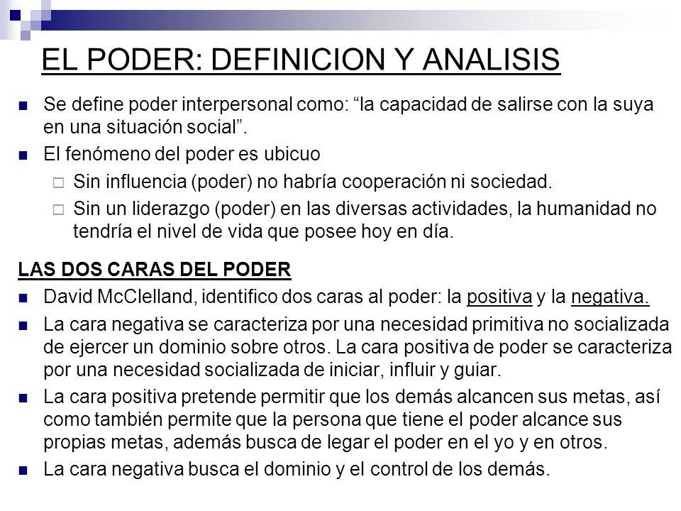 EL PODER: DEFINICION Y ANALISIS