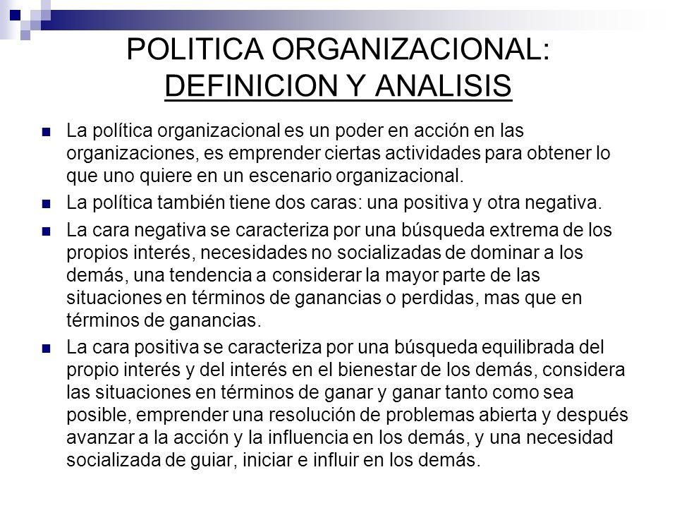 POLITICA ORGANIZACIONAL: DEFINICION Y ANALISIS