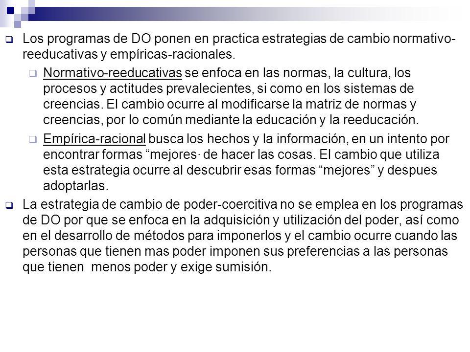 Los programas de DO ponen en practica estrategias de cambio normativo-reeducativas y empíricas-racionales.