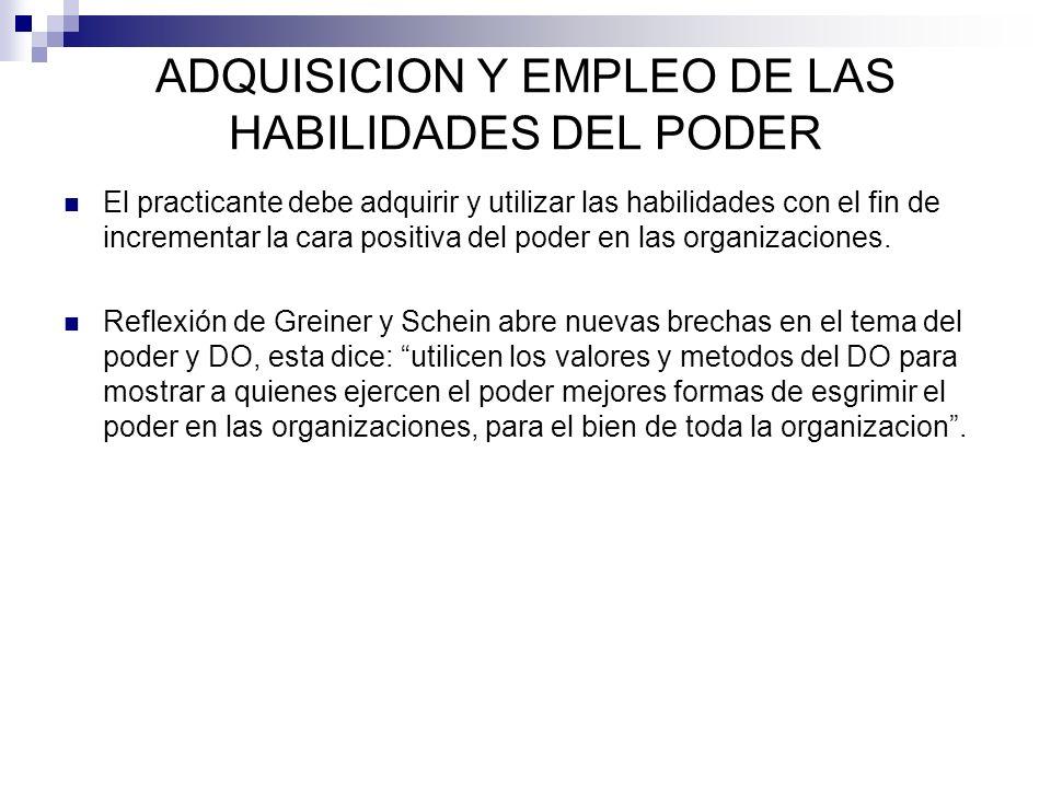 ADQUISICION Y EMPLEO DE LAS HABILIDADES DEL PODER
