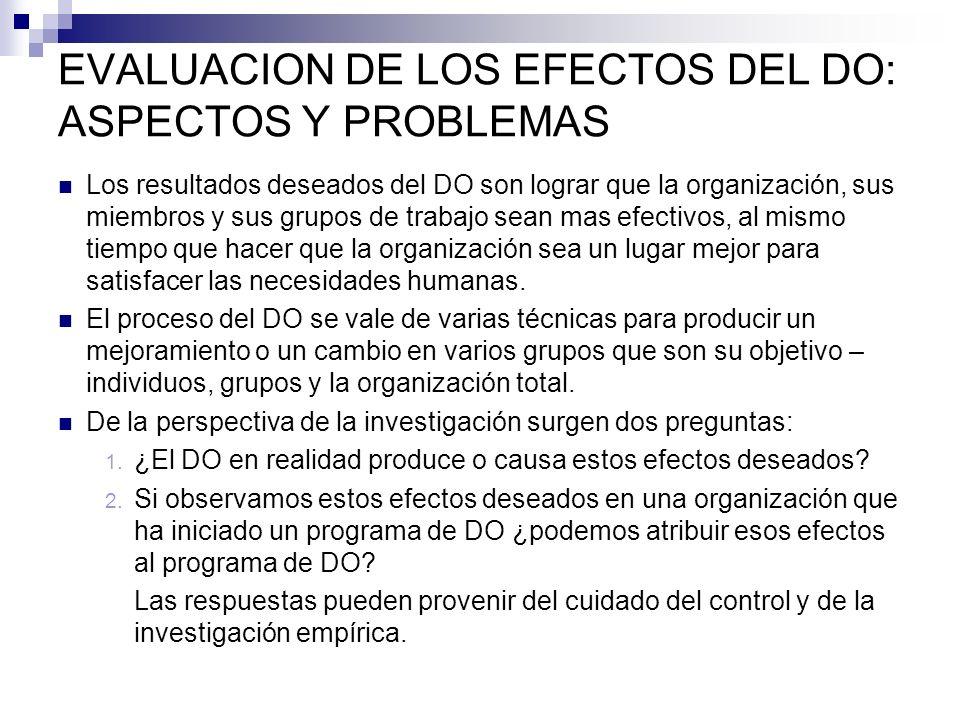 EVALUACION DE LOS EFECTOS DEL DO: ASPECTOS Y PROBLEMAS