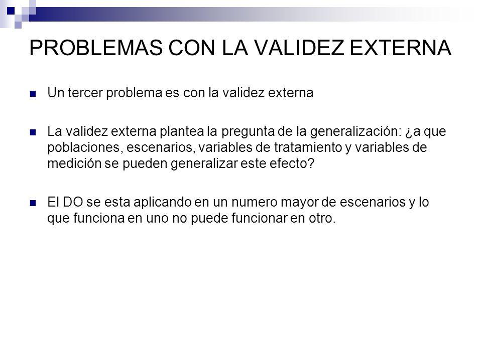 PROBLEMAS CON LA VALIDEZ EXTERNA