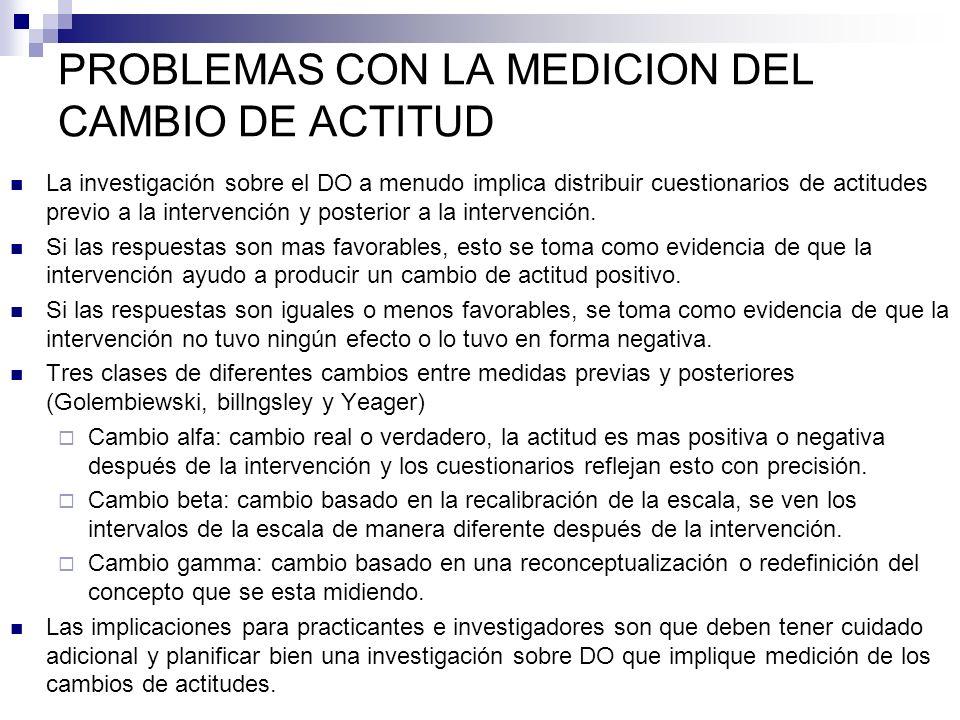 PROBLEMAS CON LA MEDICION DEL CAMBIO DE ACTITUD