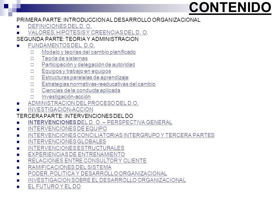CONTENIDO PRIMERA PARTE: INTRODUCCION AL DESARROLLO ORGANIZACIONAL