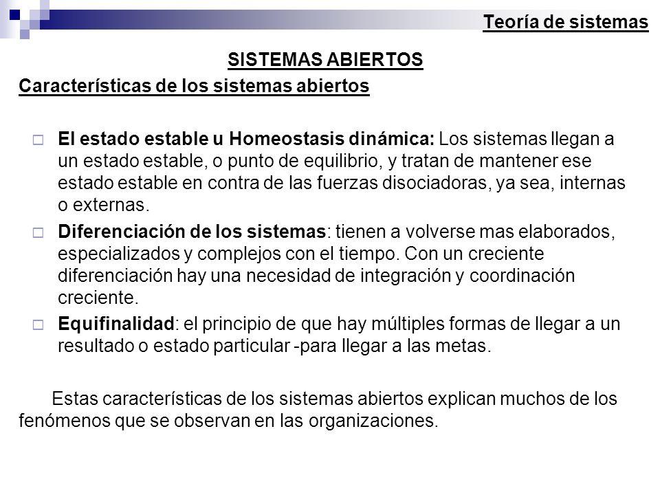 Teoría de sistemas SISTEMAS ABIERTOS. Características de los sistemas abiertos.