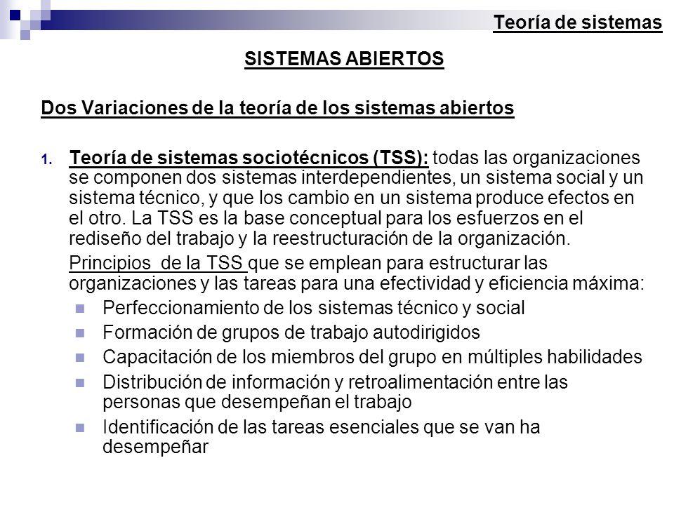 Teoría de sistemas SISTEMAS ABIERTOS. Dos Variaciones de la teoría de los sistemas abiertos.