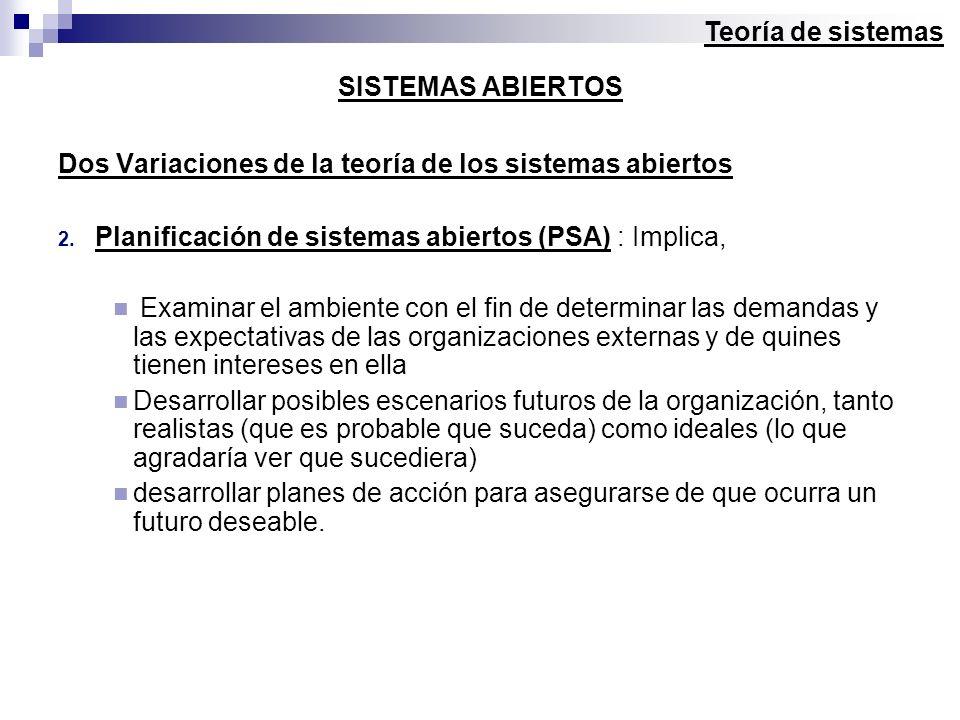 Teoría de sistemas SISTEMAS ABIERTOS. Dos Variaciones de la teoría de los sistemas abiertos. Planificación de sistemas abiertos (PSA) : Implica,