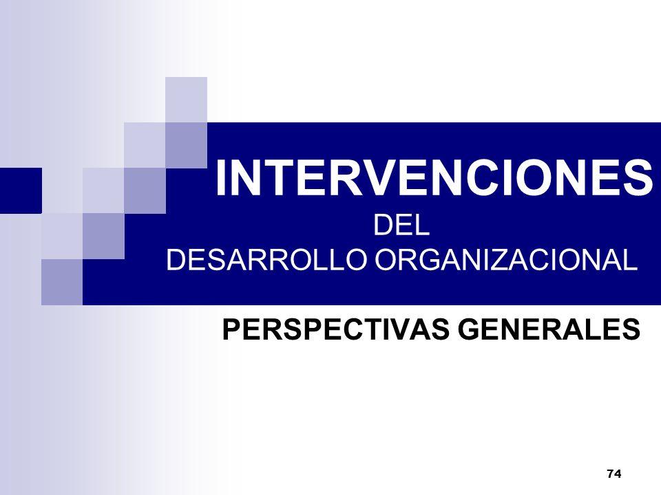 INTERVENCIONES DEL DESARROLLO ORGANIZACIONAL