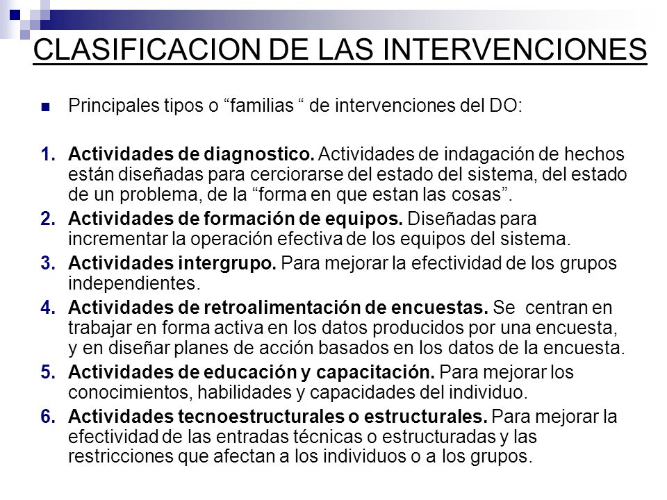 CLASIFICACION DE LAS INTERVENCIONES