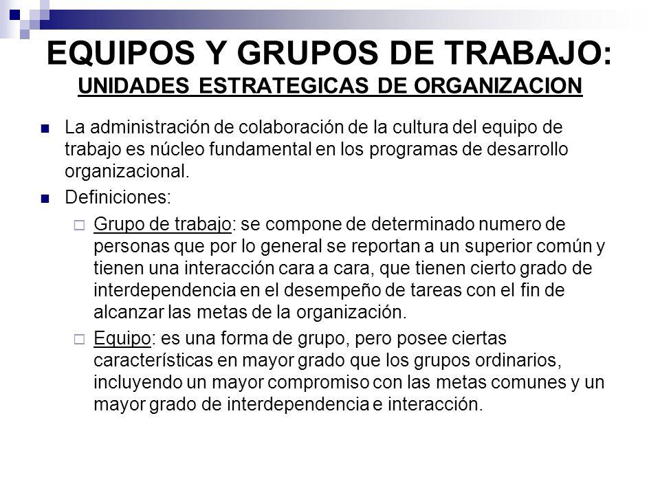 EQUIPOS Y GRUPOS DE TRABAJO: UNIDADES ESTRATEGICAS DE ORGANIZACION