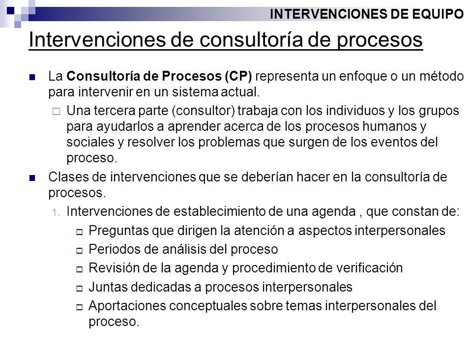 Intervenciones de consultoría de procesos