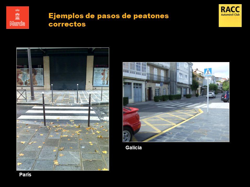 Ejemplos de pasos de peatones correctos
