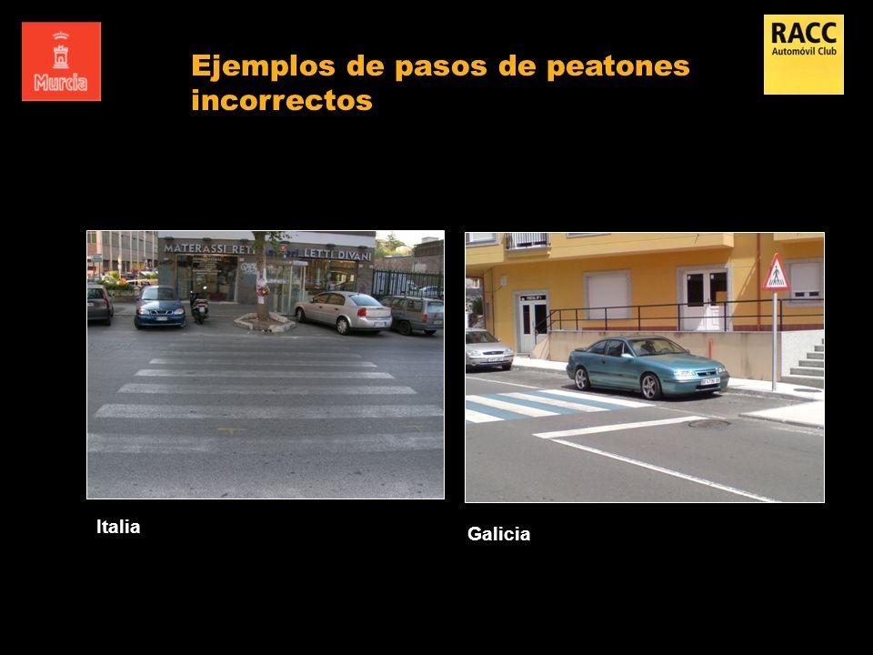 Ejemplos de pasos de peatones incorrectos