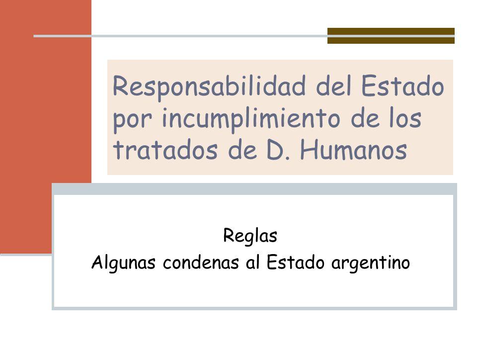 Reglas Algunas condenas al Estado argentino