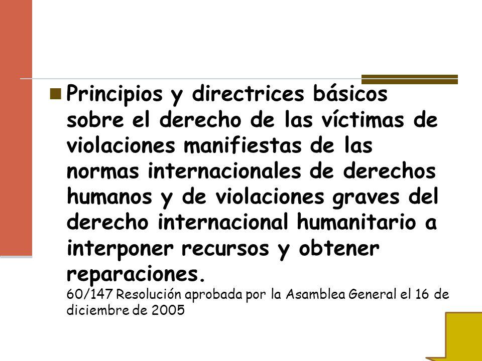 Principios y directrices básicos sobre el derecho de las víctimas de violaciones manifiestas de las normas internacionales de derechos humanos y de violaciones graves del derecho internacional humanitario a interponer recursos y obtener reparaciones.