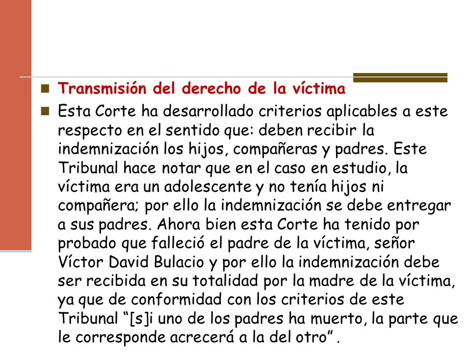 Transmisión del derecho de la víctima