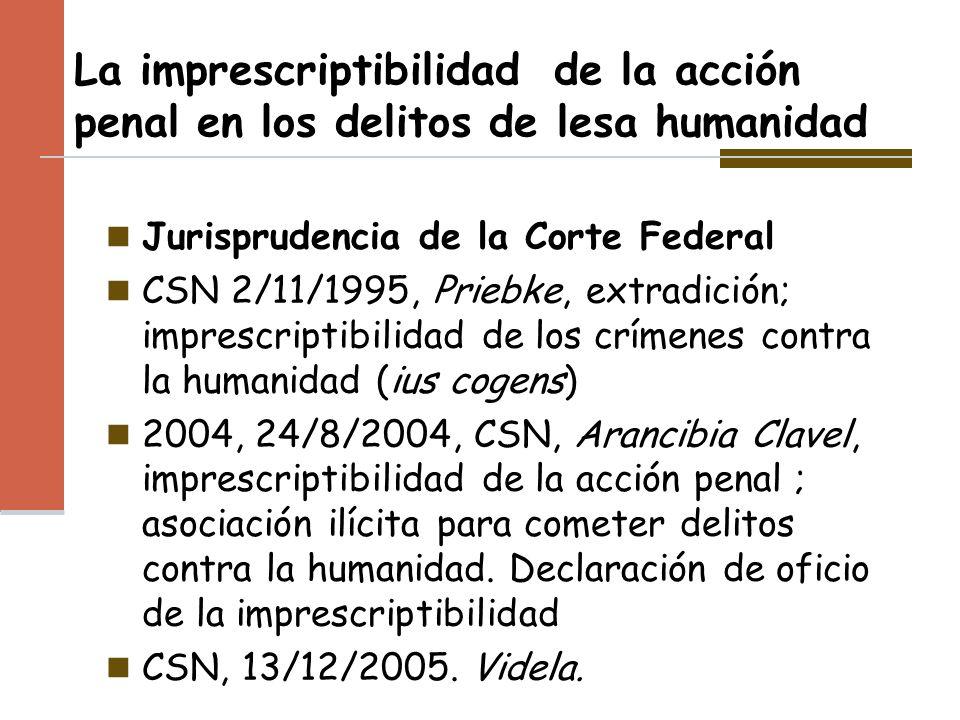 La imprescriptibilidad de la acción penal en los delitos de lesa humanidad