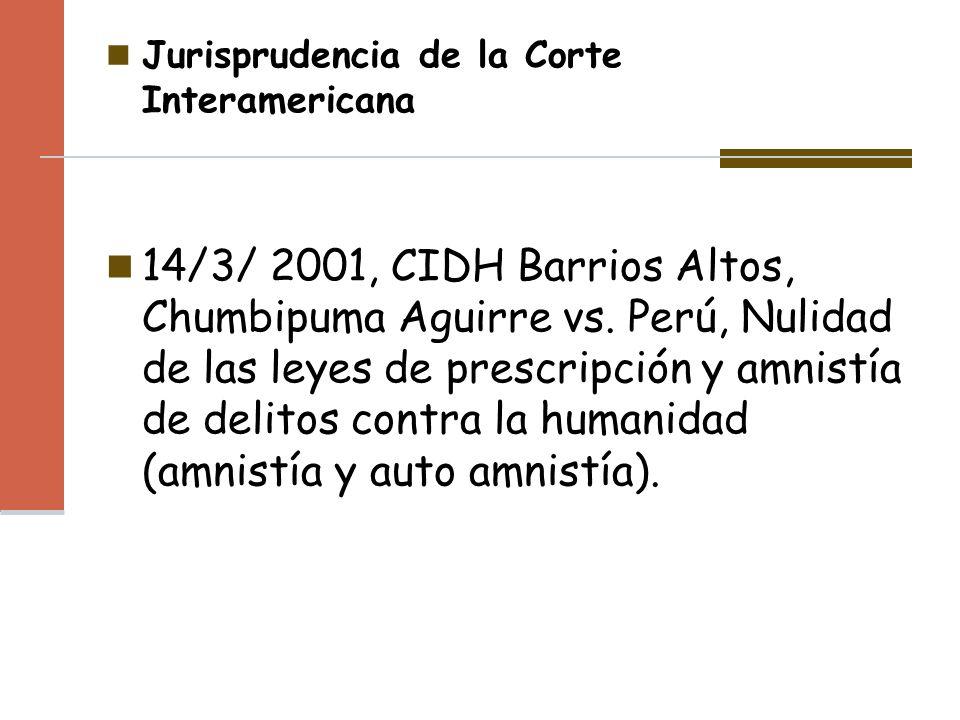 Jurisprudencia de la Corte Interamericana
