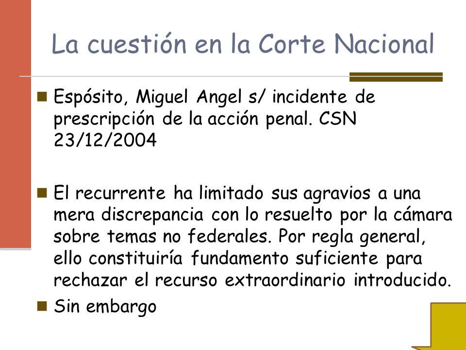 La cuestión en la Corte Nacional
