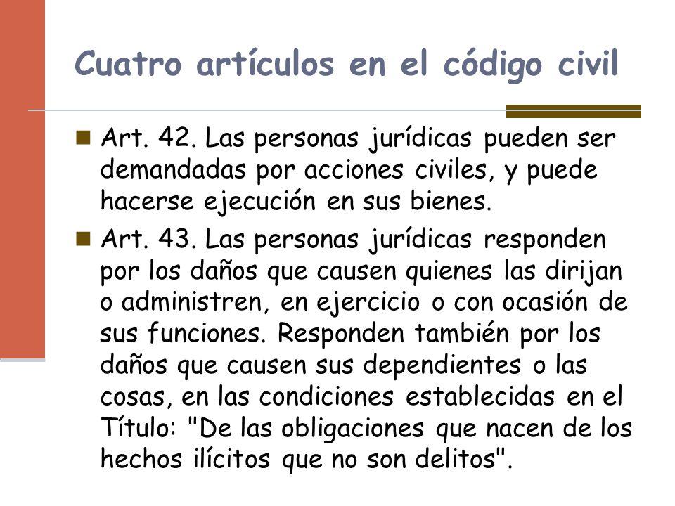 Cuatro artículos en el código civil