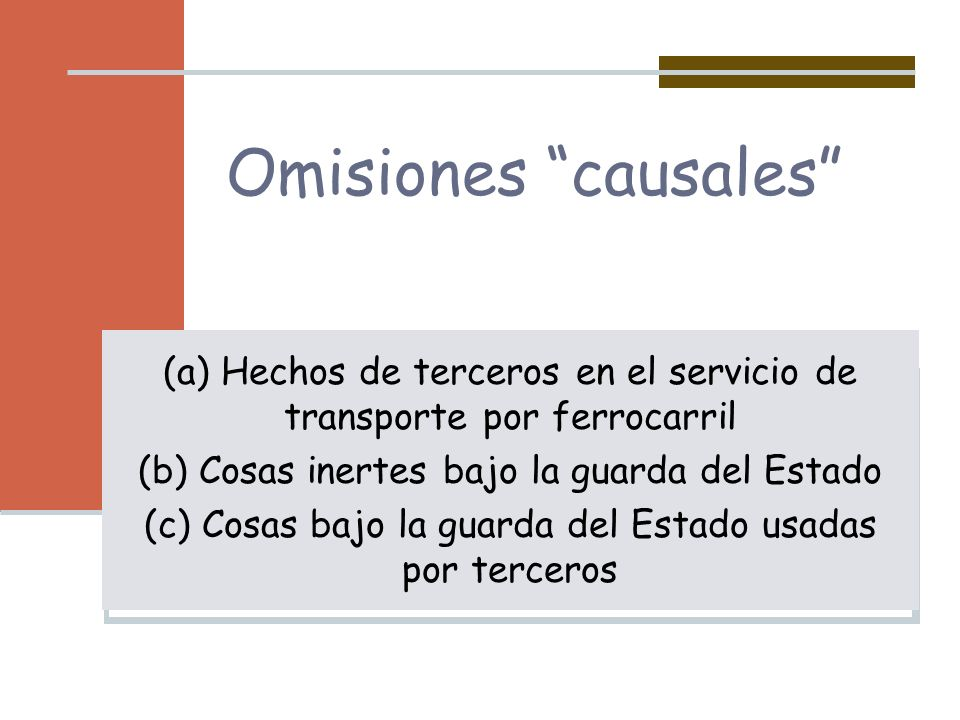 Omisiones causales (a) Hechos de terceros en el servicio de transporte por ferrocarril. (b) Cosas inertes bajo la guarda del Estado.