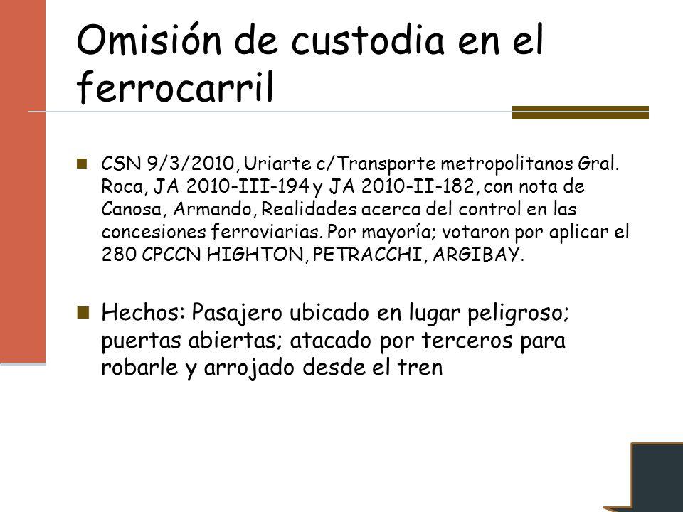 Omisión de custodia en el ferrocarril