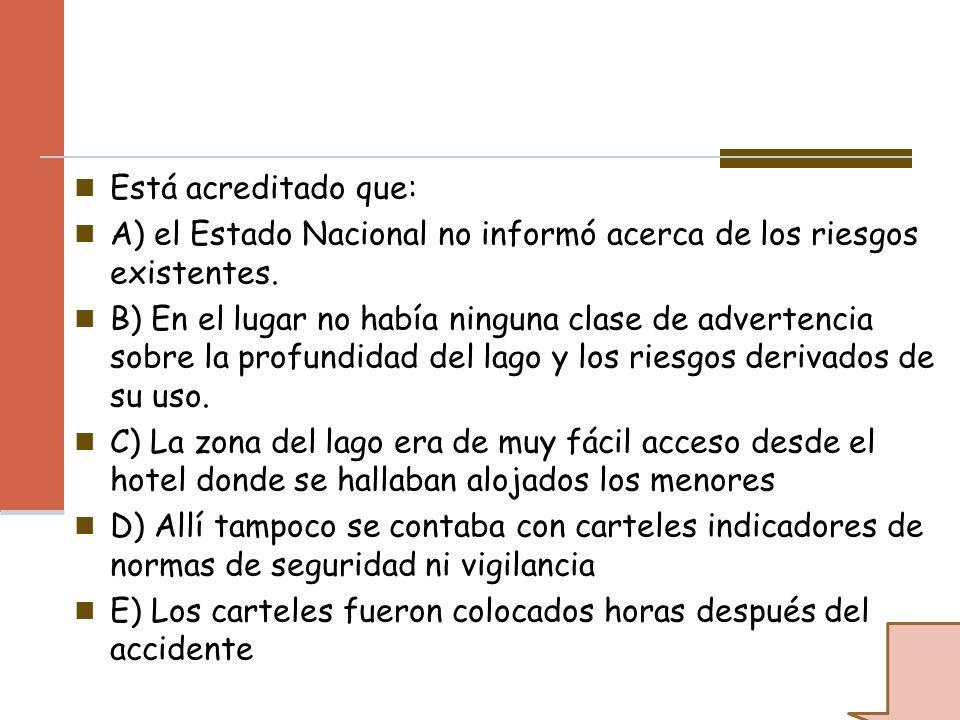 Está acreditado que: A) el Estado Nacional no informó acerca de los riesgos existentes.