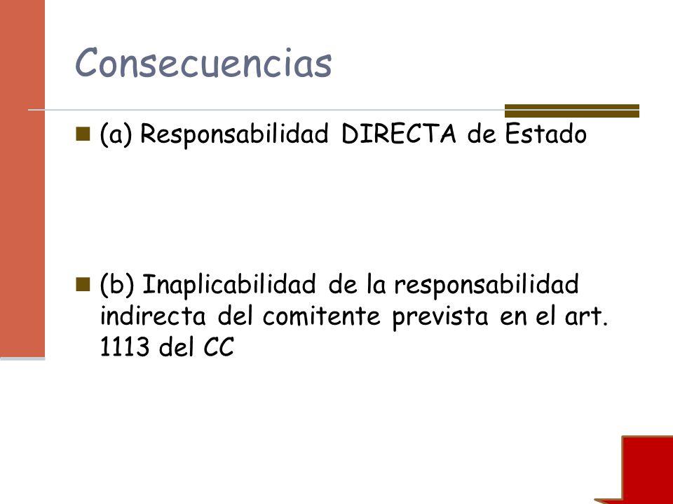 Consecuencias (a) Responsabilidad DIRECTA de Estado