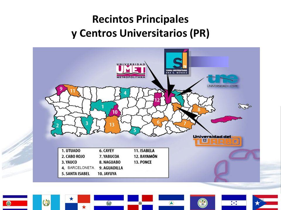 Recintos Principales y Centros Universitarios (PR)