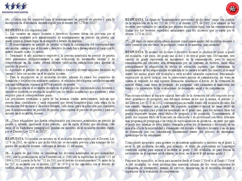 14.- ¿Cuáles son los requisitos para el nombramiento en período de prueba y para la inscripción en el escalafón docente regido por el decreto ley 1278 de 2002