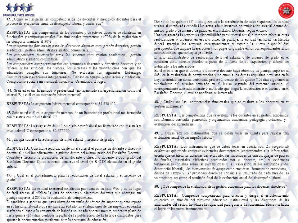 43. ¿Cómo se clasifican las competencias de los docentes y directivos docentes para el proceso de evaluación anual de desempeño laboral y cuáles son