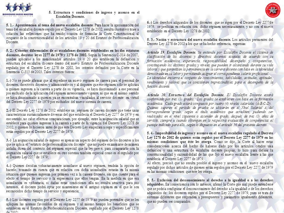 5. Estructura y condiciones de ingreso y ascenso en el Escalafón Docente.