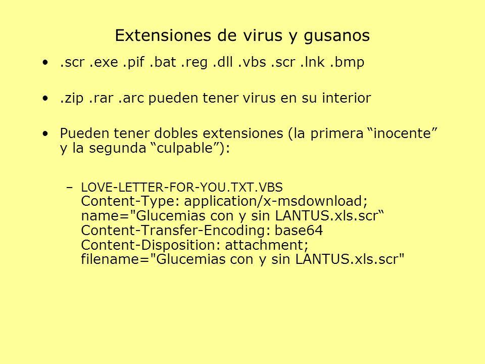 Extensiones de virus y gusanos