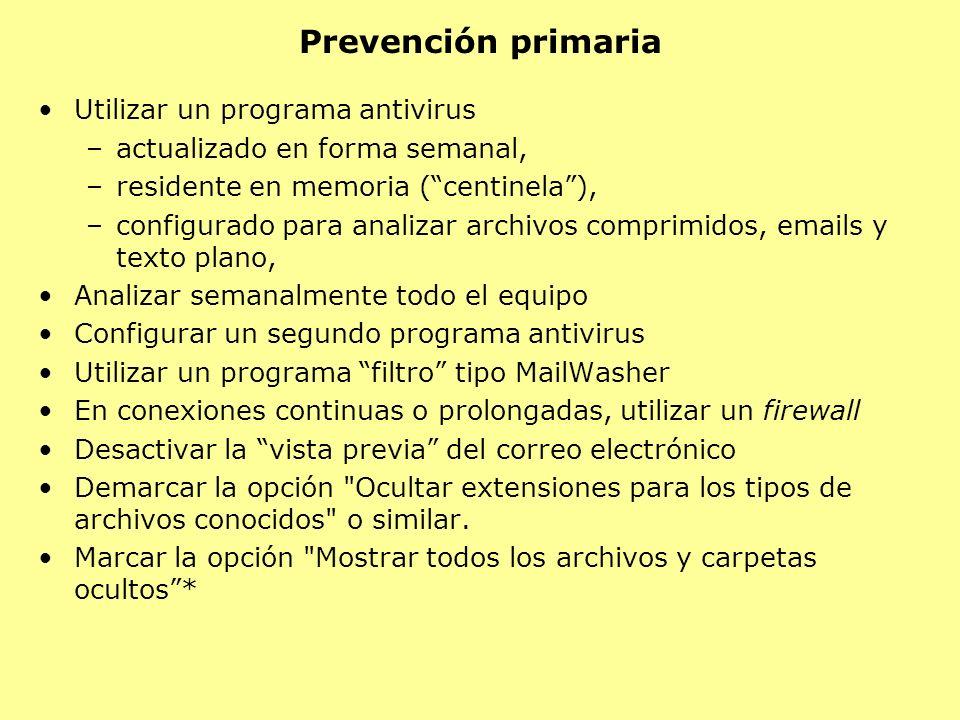 Prevención primaria Utilizar un programa antivirus