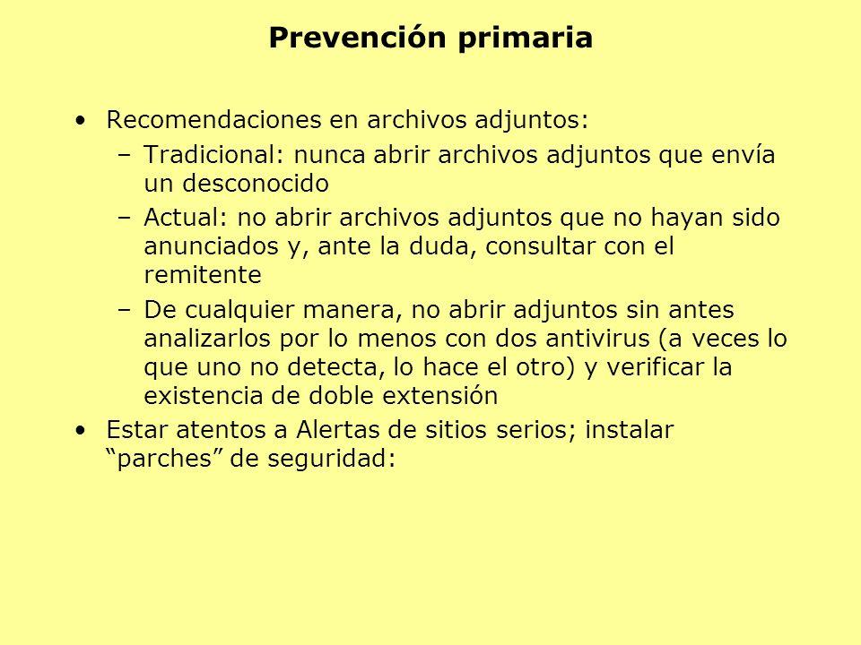 Prevención primaria Recomendaciones en archivos adjuntos: