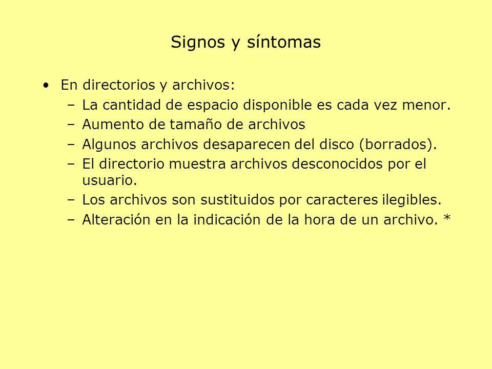 Signos y síntomas En directorios y archivos: