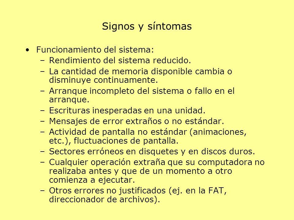 Signos y síntomas Funcionamiento del sistema: