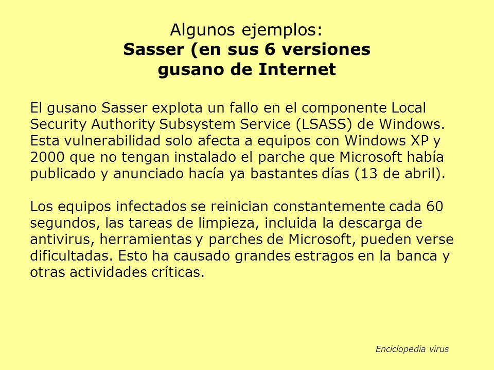 Sasser (en sus 6 versiones gusano de Internet